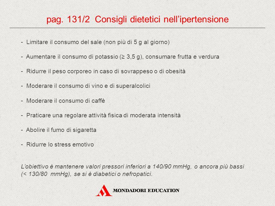 - Limitare il consumo del sale (non più di 5 g al giorno) - Aumentare il consumo di potassio (≥ 3,5 g), consumare frutta e verdura - Ridurre il peso c