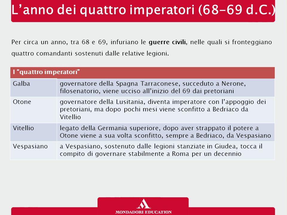 L'anno dei quattro imperatori (68-69 d.C.) Per circa un anno, tra 68 e 69, infuriano le guerre civili, nelle quali si fronteggiano quattro comandanti
