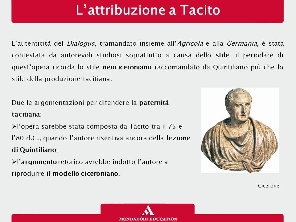 L'attribuzione a Tacito L'autenticità del Dialogus, tramandato insieme all'Agricola e alla Germania, è stata contestata da autorevoli studiosi sopratt
