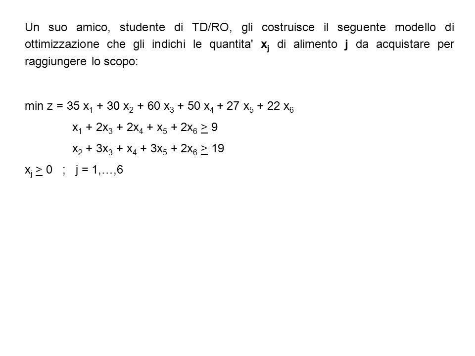 Un suo amico, studente di TD/RO, gli costruisce il seguente modello di ottimizzazione che gli indichi le quantita x j di alimento j da acquistare per raggiungere lo scopo: min z = 35 x 1 + 30 x 2 + 60 x 3 + 50 x 4 + 27 x 5 + 22 x 6 x 1 + 2x 3 + 2x 4 + x 5 + 2x 6 > 9 x 2 + 3x 3 + x 4 + 3x 5 + 2x 6 > 19 x j > 0 ; j = 1,…,6