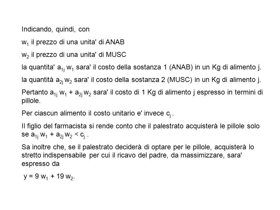 Indicando, quindi, con w 1 il prezzo di una unita di ANAB w 2 il prezzo di una unita di MUSC la quantita a 1j w 1 sara il costo della sostanza 1 (ANAB) in un Kg di alimento j.