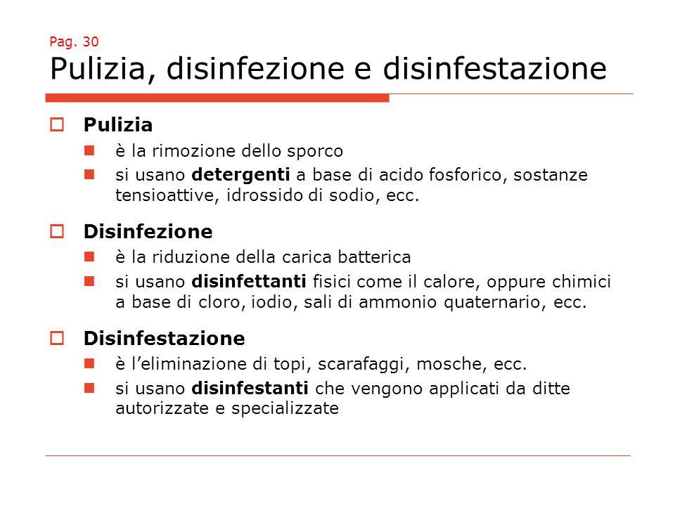 Pag. 30 Pulizia, disinfezione e disinfestazione  Pulizia è la rimozione dello sporco si usano detergenti a base di acido fosforico, sostanze tensioat