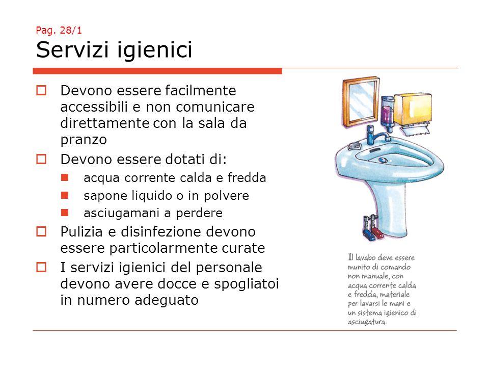 Pag. 28/1 Servizi igienici  Devono essere facilmente accessibili e non comunicare direttamente con la sala da pranzo  Devono essere dotati di: acqua