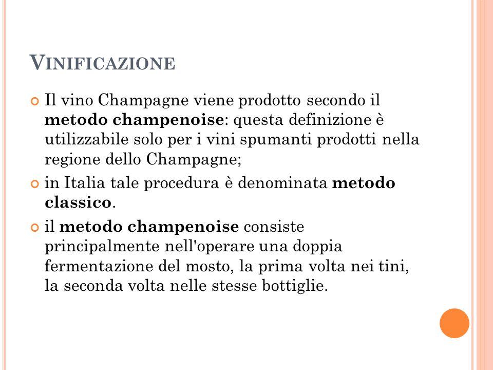 V INIFICAZIONE Il vino Champagne viene prodotto secondo il metodo champenoise : questa definizione è utilizzabile solo per i vini spumanti prodotti ne