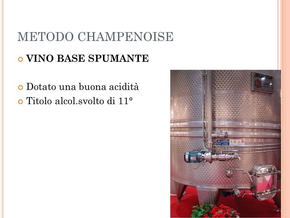 METODO CHAMPENOISE VINO BASE SPUMANTE Dotato una buona acidità Titolo alcol.svolto di 11°