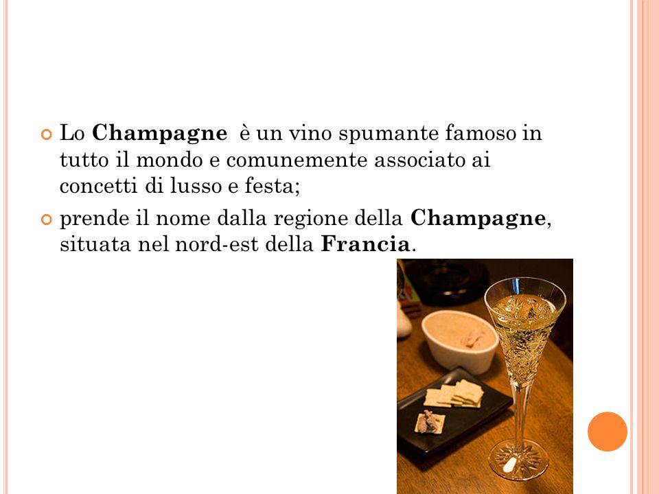 Lo Champagne è un vino spumante famoso in tutto il mondo e comunemente associato ai concetti di lusso e festa; prende il nome dalla regione della Cham