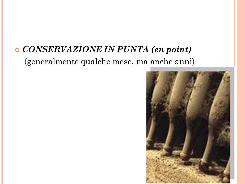 CONSERVAZIONE IN PUNTA (en point) (generalmente qualche mese, ma anche anni)
