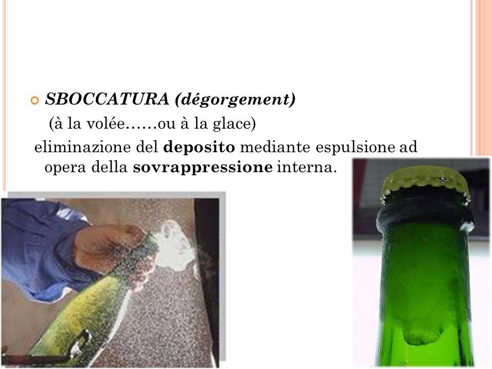 SBOCCATURA (dégorgement) (à la volée……ou à la glace) eliminazione del deposito mediante espulsione ad opera della sovrappressione interna.