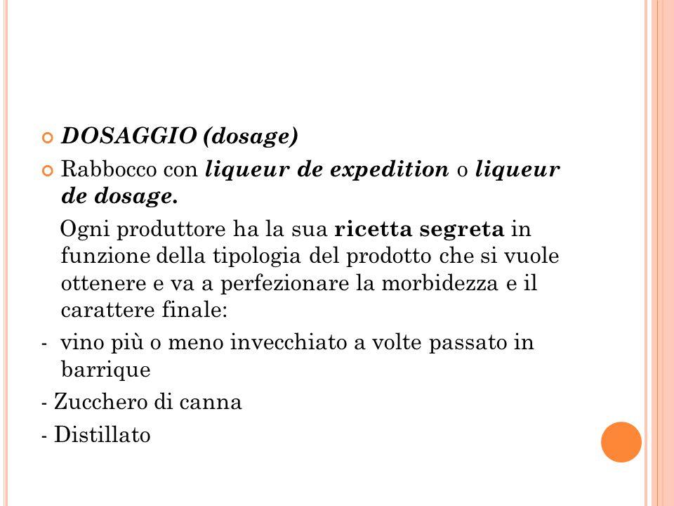 DOSAGGIO (dosage) Rabbocco con liqueur de expedition o liqueur de dosage. Ogni produttore ha la sua ricetta segreta in funzione della tipologia del pr