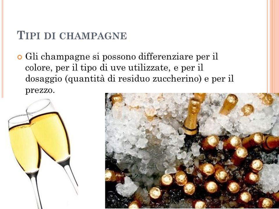 T IPI DI CHAMPAGNE Gli champagne si possono differenziare per il colore, per il tipo di uve utilizzate, e per il dosaggio (quantità di residuo zuccher