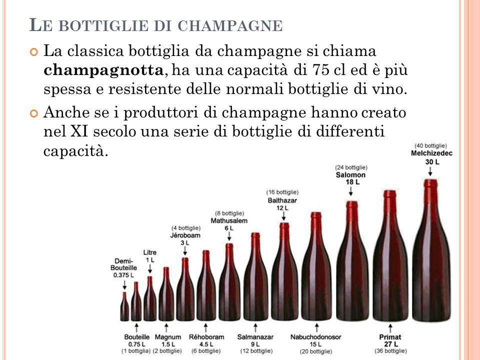 L E BOTTIGLIE DI CHAMPAGNE La classica bottiglia da champagne si chiama champagnotta, ha una capacità di 75 cl ed è più spessa e resistente delle norm