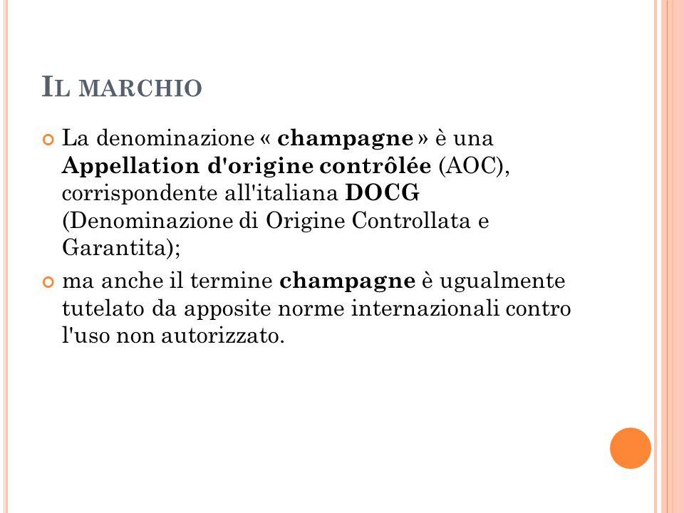 I L MARCHIO La denominazione « champagne » è una Appellation d'origine contrôlée (AOC), corrispondente all'italiana DOCG (Denominazione di Origine Con