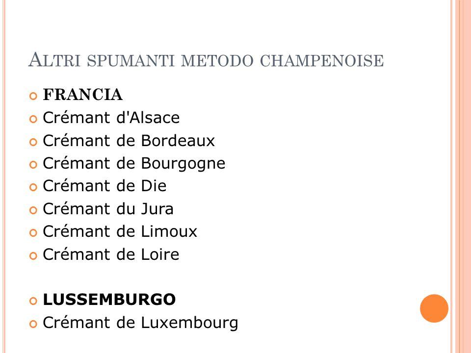 A LTRI SPUMANTI METODO CHAMPENOISE FRANCIA Crémant d'Alsace Crémant de Bordeaux Crémant de Bourgogne Crémant de Die Crémant du Jura Crémant de Limoux