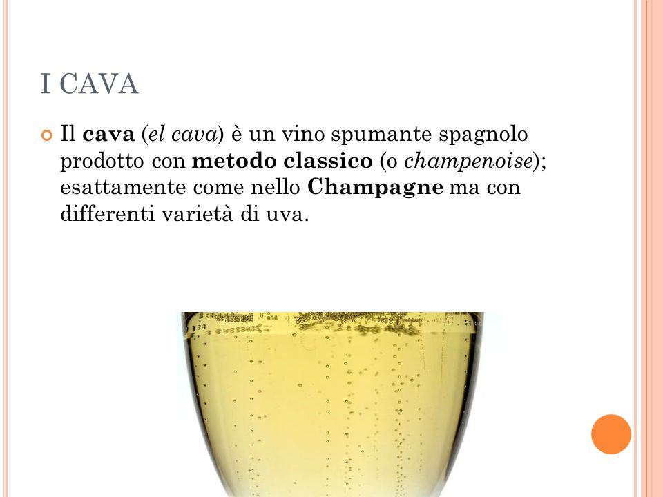 I CAVA Il cava ( el cava ) è un vino spumante spagnolo prodotto con metodo classico (o champenoise ); esattamente come nello Champagne ma con differen