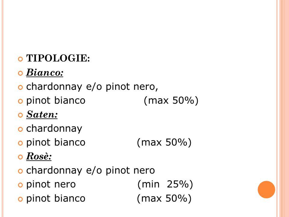 TIPOLOGIE: Bianco: chardonnay e/o pinot nero, pinot bianco (max 50%) Saten: chardonnay pinot bianco (max 50%) Rosè: chardonnay e/o pinot nero pinot ne