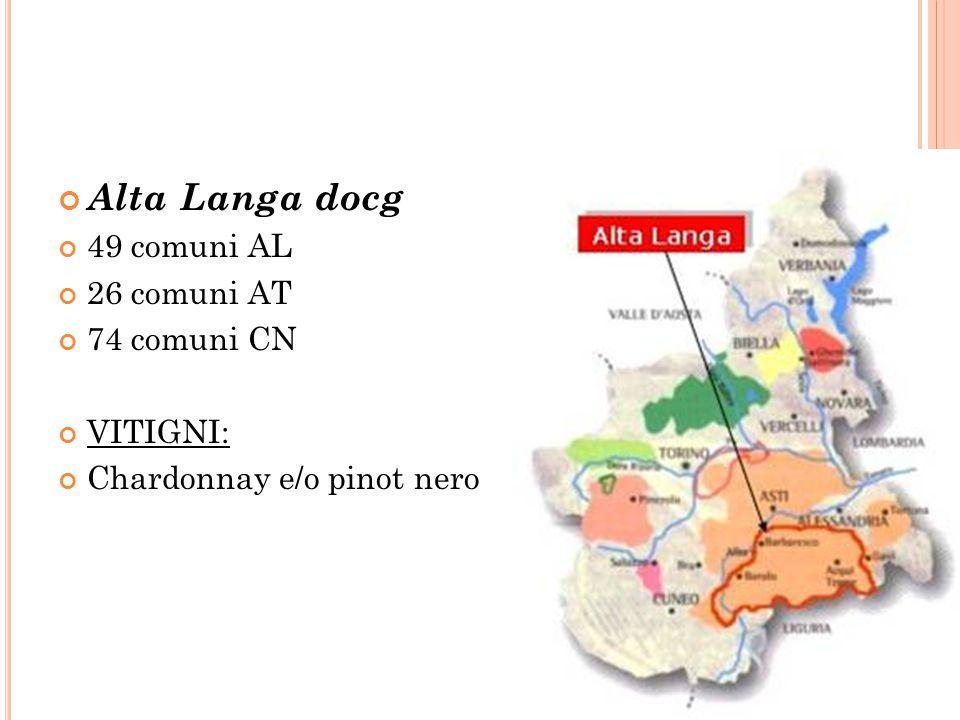 Alta Langa docg 49 comuni AL 26 comuni AT 74 comuni CN VITIGNI: Chardonnay e/o pinot nero