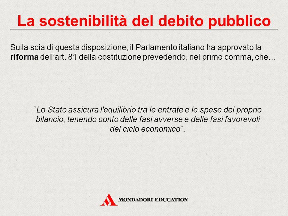 """""""Lo Stato assicura l'equilibrio tra le entrate e le spese del proprio bilancio, tenendo conto delle fasi avverse e delle fasi favorevoli del ciclo eco"""