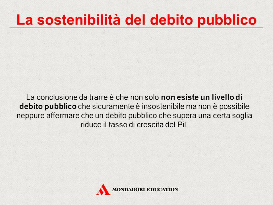 La conclusione da trarre è che non solo non esiste un livello di debito pubblico che sicuramente è insostenibile ma non è possibile neppure affermare
