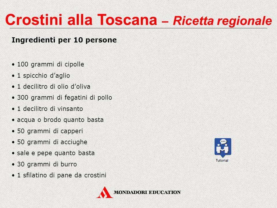 Ingredienti per 10 persone 100 grammi di cipolle 1 spicchio d'aglio 1 decilitro di olio d'oliva 300 grammi di fegatini di pollo 1 decilitro di vinsant