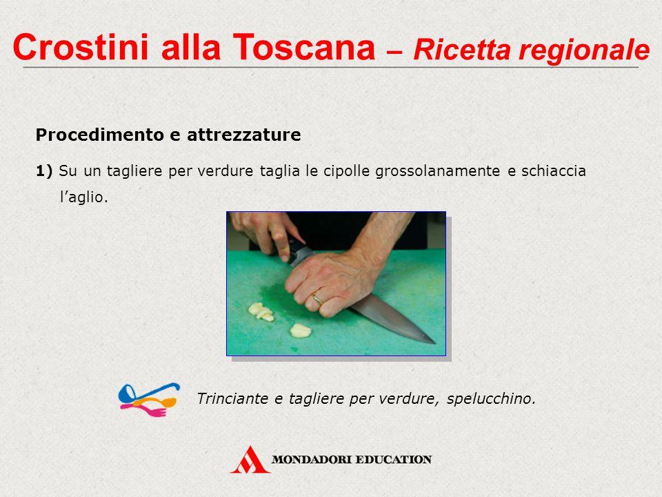 Procedimento e attrezzature 1) Su un tagliere per verdure taglia le cipolle grossolanamente e schiaccia l'aglio. Trinciante e tagliere per verdure, sp