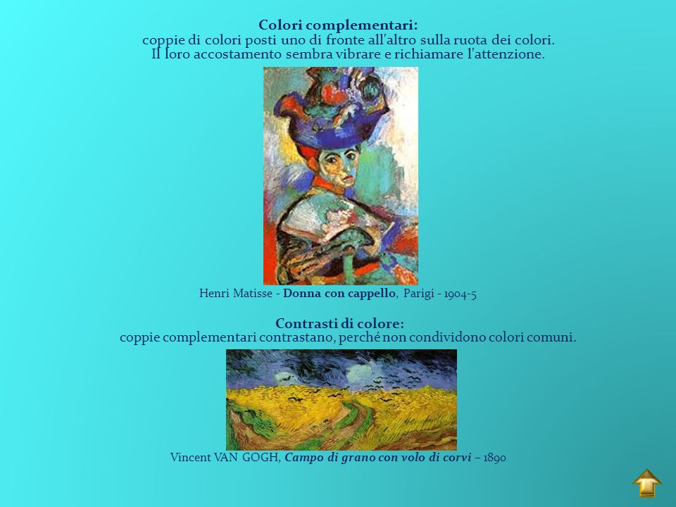 Colori caldi: suggeriscono calore e vicinanza Henri de Toulouse-Lautrec - Il bacio - 1892 Colori freddi: suggeriscono freddezza e distacco Vincent Van Gogh - Notte stellata - 1889