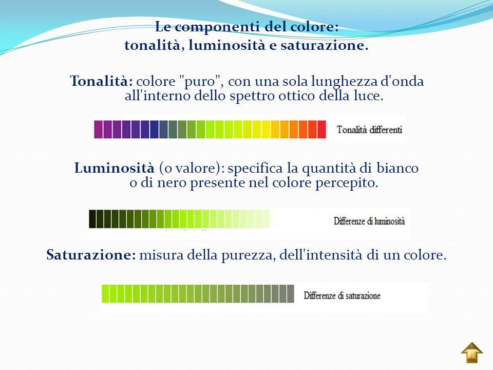 Colori complementari: coppie di colori posti uno di fronte all altro sulla ruota dei colori.