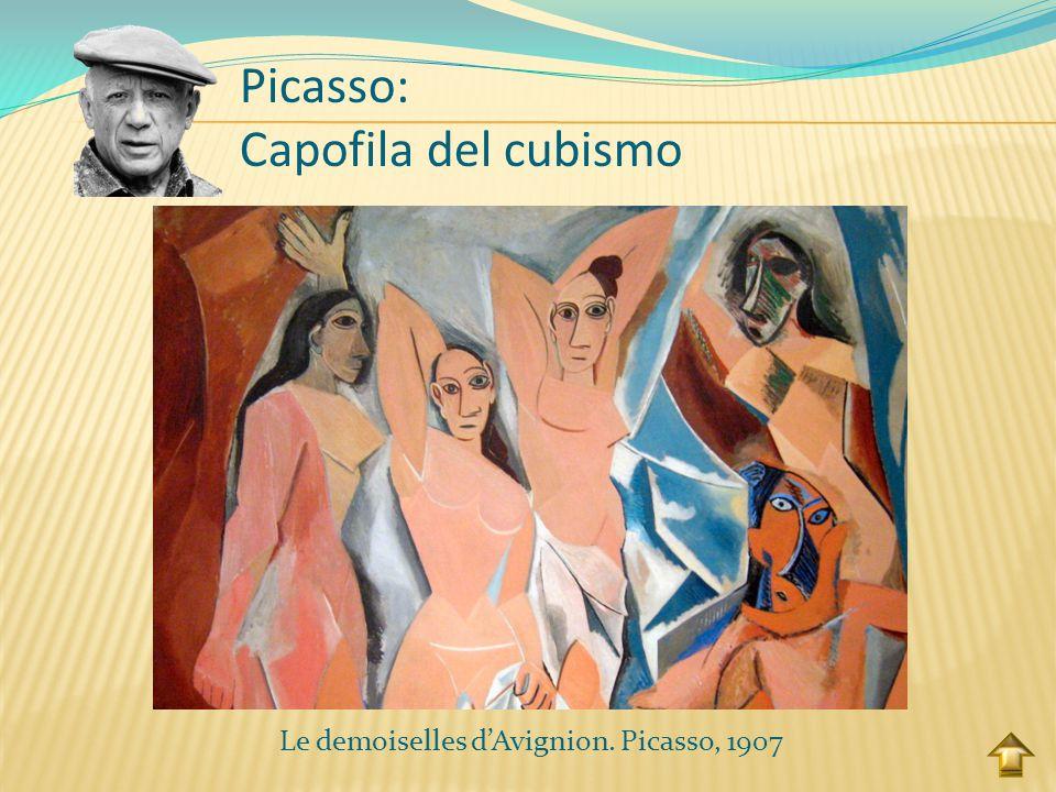 """Picasso: Capofila del cubismo Dà avvio a questa corrente con il dipinto del 1907 """"Le demoiselles d'Avignion"""". E intraprese il suo percorso cubista pro"""
