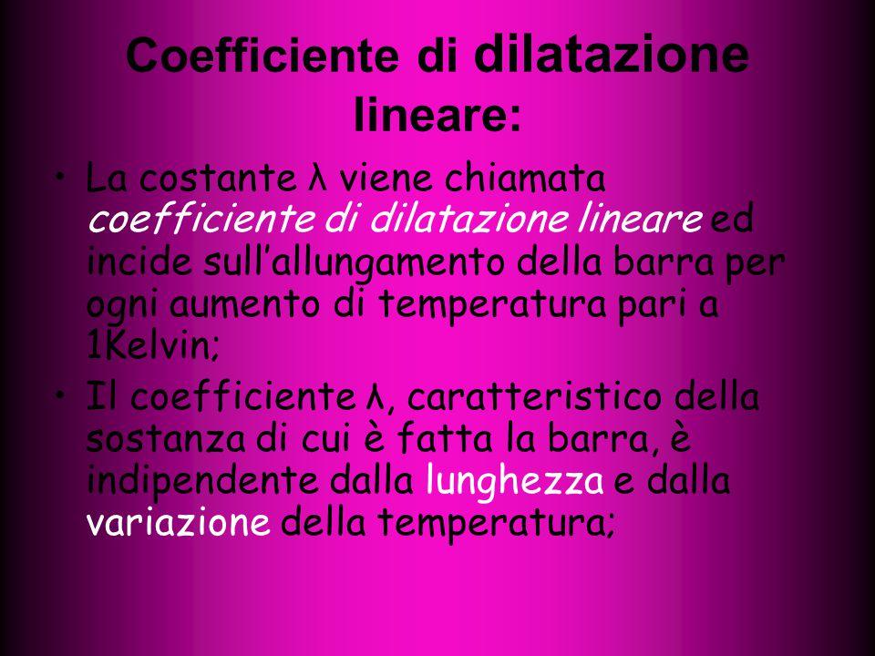 Coefficiente di dilatazione lineare: La costante λ viene chiamata coefficiente di dilatazione lineare ed incide sull'allungamento della barra per ogni