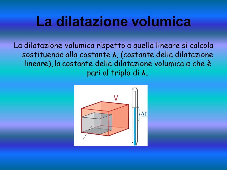 La dilatazione volumica La dilatazione volumica rispetto a quella lineare si calcola sostituendo alla costante λ, (costante della dilatazione lineare)