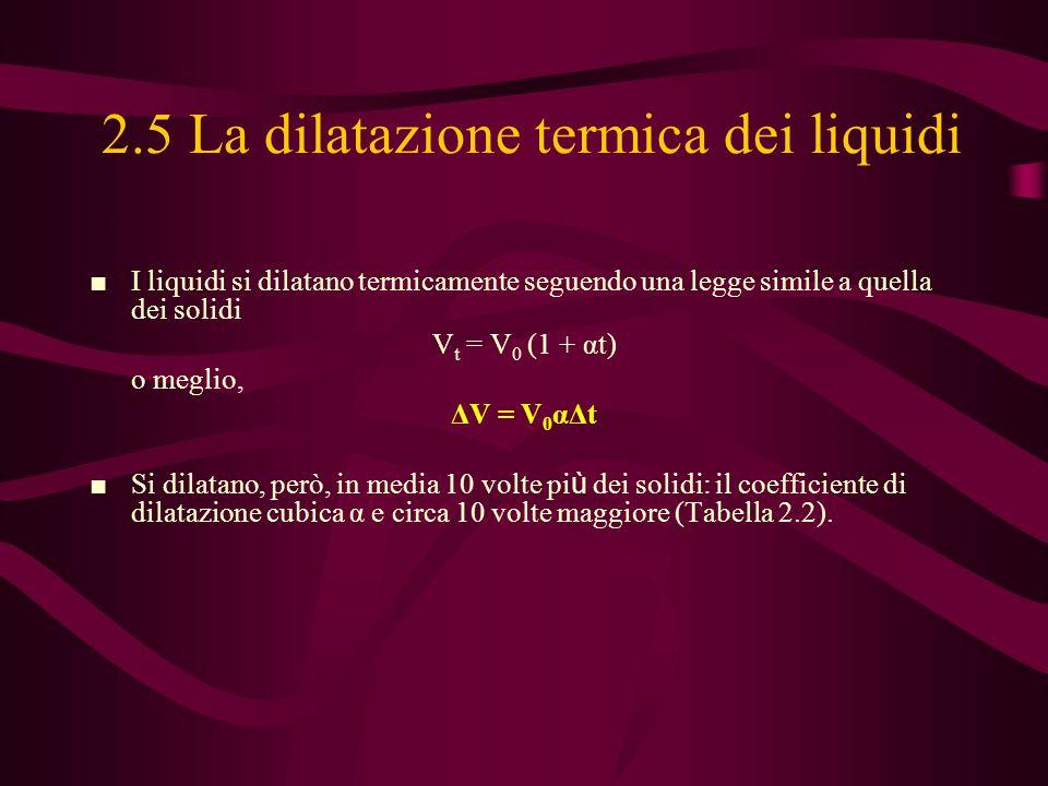 2.5 La dilatazione termica dei liquidi ■ I liquidi si dilatano termicamente seguendo una legge simile a quella dei solidi V t = V 0 (1 + αt) o meglio,