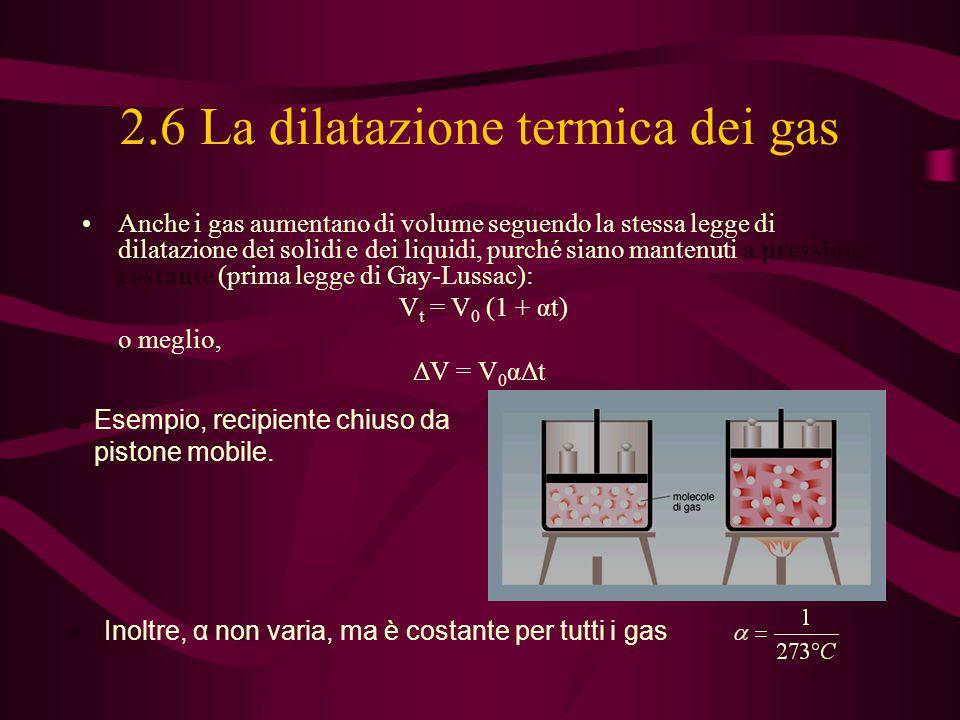 2.6 La dilatazione termica dei gas Anche i gas aumentano di volume seguendo la stessa legge di dilatazione dei solidi e dei liquidi, purché siano mant