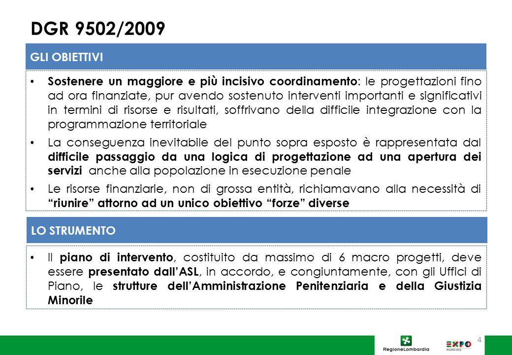 DGR 9502/2009 Sostenere un maggiore e più incisivo coordinamento : le progettazioni fino ad ora finanziate, pur avendo sostenuto interventi importanti