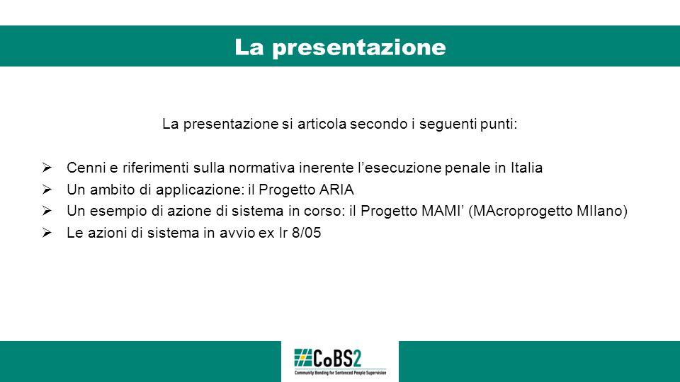 La presentazione La presentazione si articola secondo i seguenti punti:  Cenni e riferimenti sulla normativa inerente l'esecuzione penale in Italia 