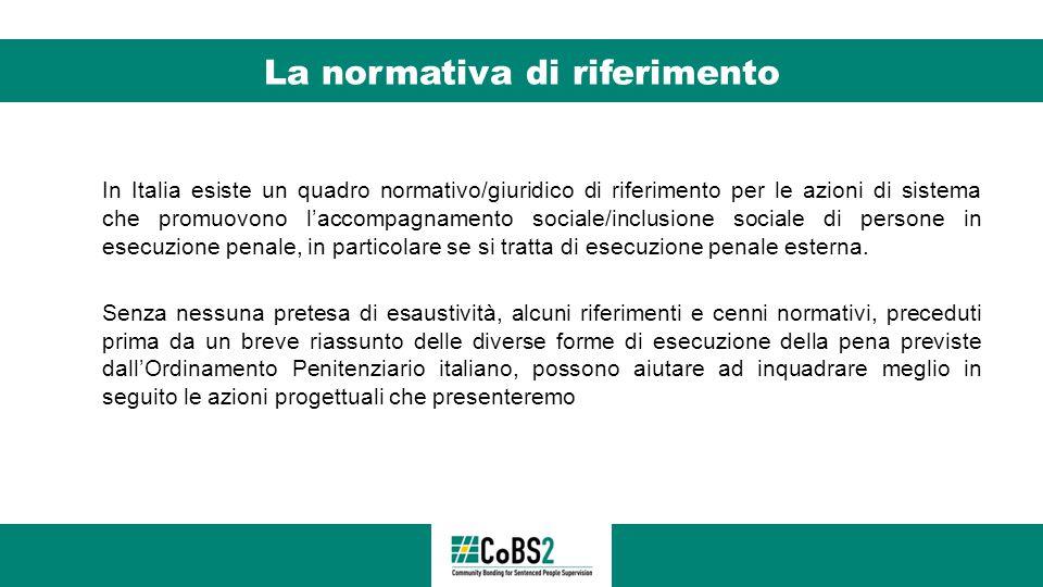 La normativa di riferimento In Italia esiste un quadro normativo/giuridico di riferimento per le azioni di sistema che promuovono l'accompagnamento so