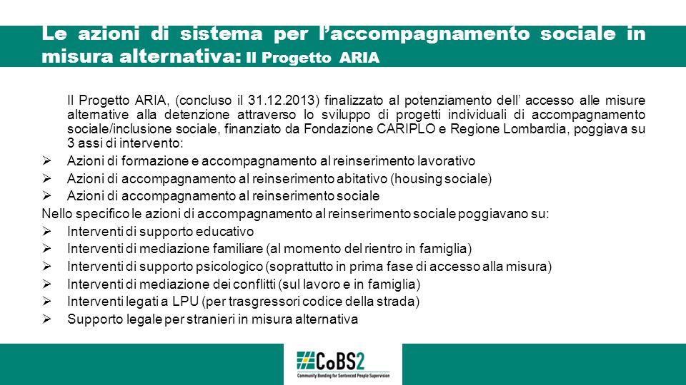 Le azioni di sistema per l'accompagnamento sociale in misura alternativa: Il Progetto ARIA Il Progetto ARIA, (concluso il 31.12.2013) finalizzato al p
