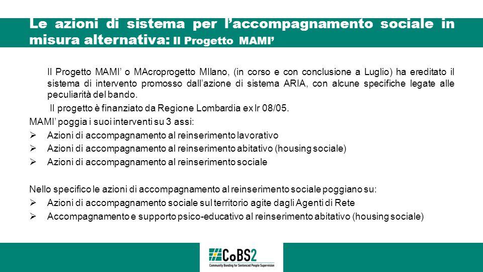 Le azioni di sistema per l'accompagnamento sociale in misura alternativa: Il Progetto MAMI' Il Progetto MAMI' o MAcroprogetto MIlano, (in corso e con