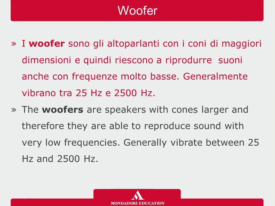 »I woofer sono gli altoparlanti con i coni di maggiori dimensioni e quindi riescono a riprodurre suoni anche con frequenze molto basse.