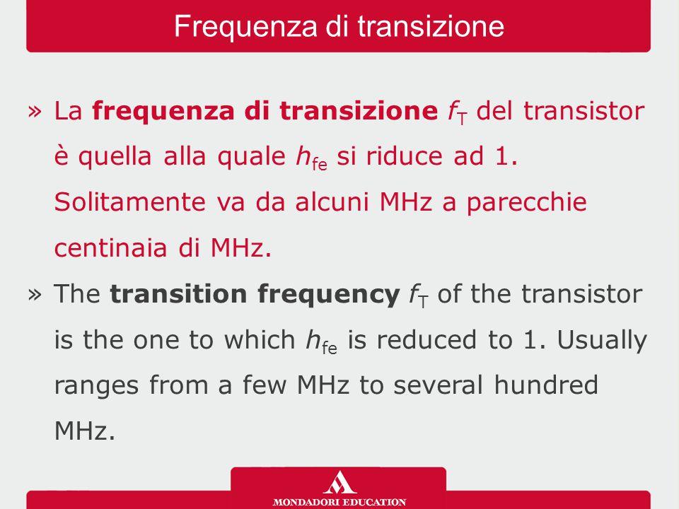 »La frequenza di transizione f T del transistor è quella alla quale h fe si riduce ad 1. Solitamente va da alcuni MHz a parecchie centinaia di MHz. »T