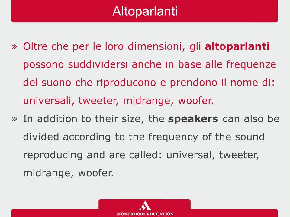 »Oltre che per le loro dimensioni, gli altoparlanti possono suddividersi anche in base alle frequenze del suono che riproducono e prendono il nome di: universali, tweeter, midrange, woofer.