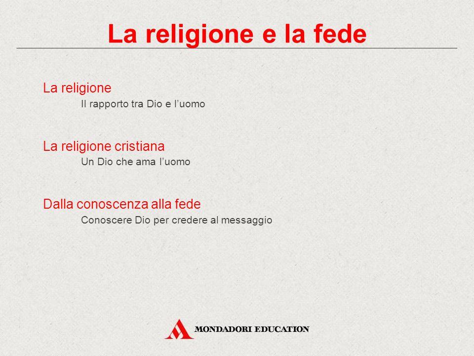 La religione Il rapporto tra Dio e l'uomo La religione cristiana Un Dio che ama l'uomo Dalla conoscenza alla fede Conoscere Dio per credere al messaggio La religione e la fede