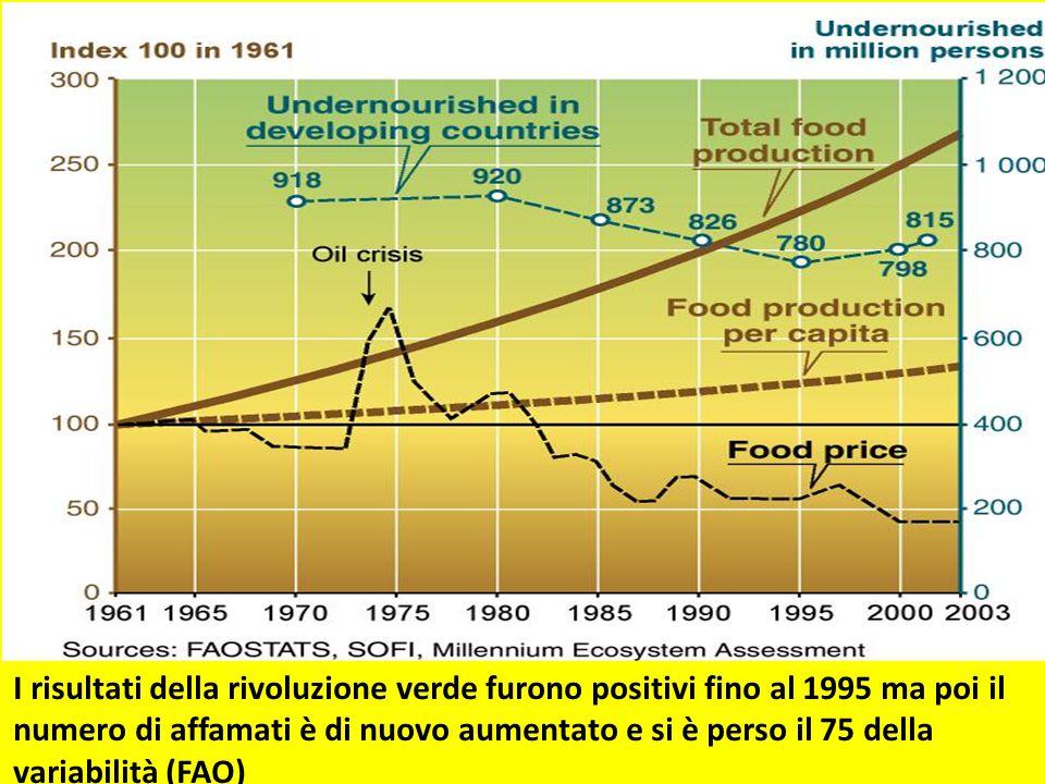 I risultati della rivoluzione verde furono positivi fino al 1995 ma poi il numero di affamati è di nuovo aumentato e si è perso il 75 della variabilità (FAO)