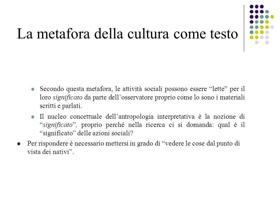 La metafora della cultura come testo Secondo questa metafora, le attività sociali possono essere lette per il loro significato da parte dell'osservatore proprio come lo sono i materiali scritti e parlati.