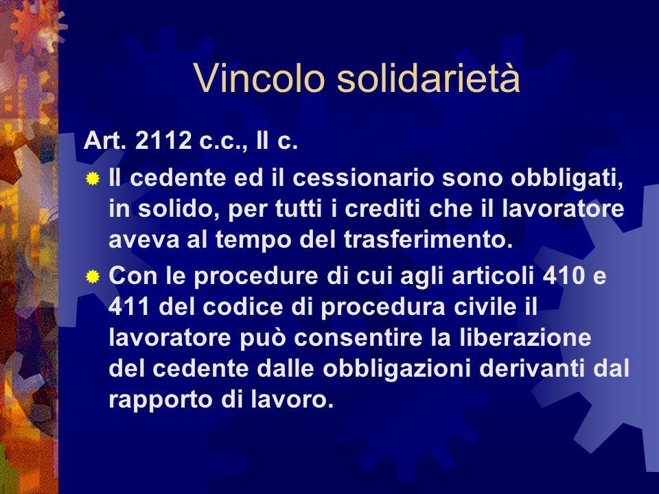 Vincolo solidarietà Art.2112 c.c., II c.