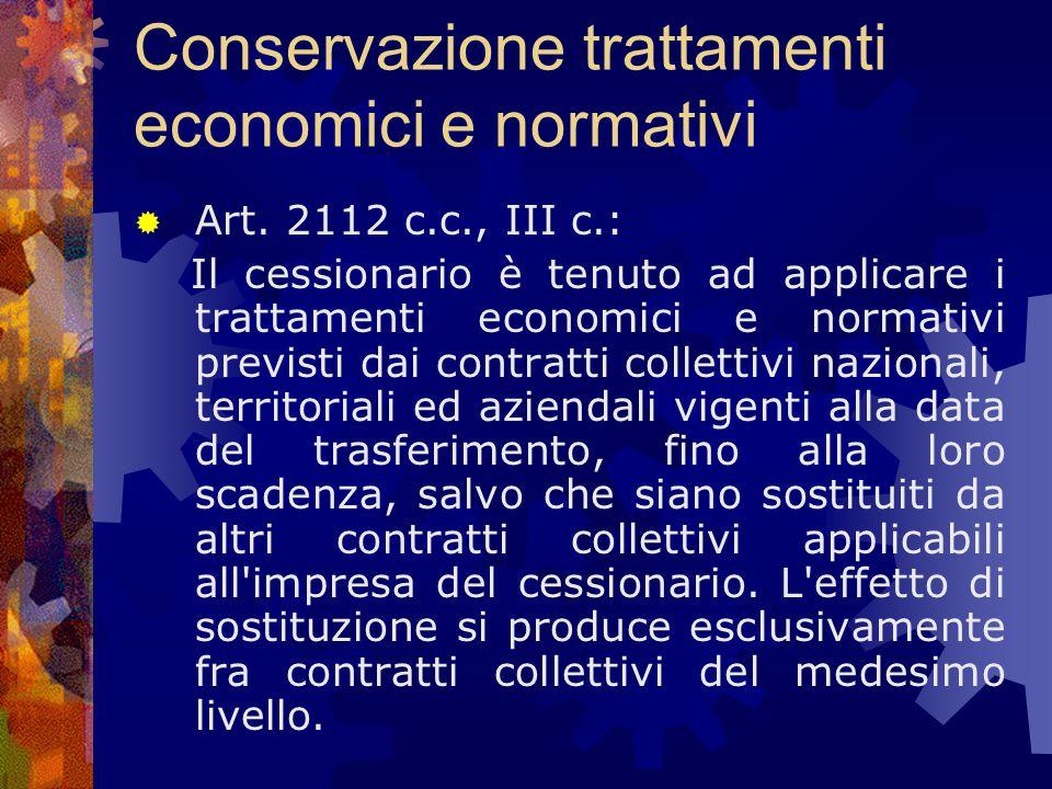 Conservazione trattamenti economici e normativi  Art.
