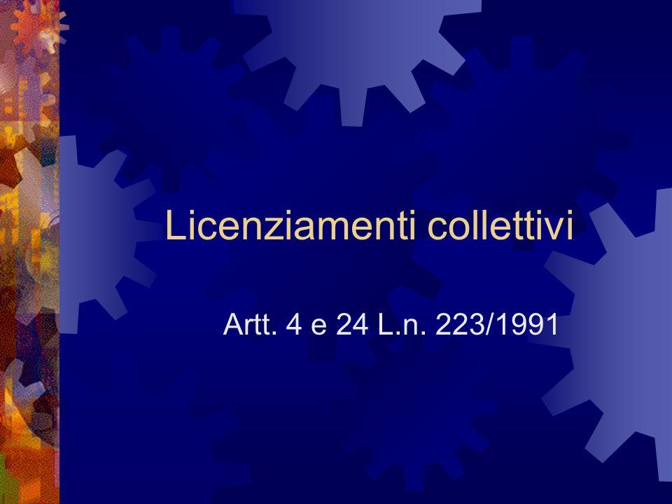 Licenziamenti collettivi Artt. 4 e 24 L.n. 223/1991