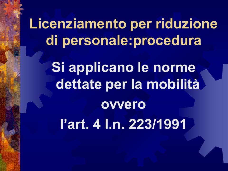 Licenziamento per riduzione di personale:procedura Si applicano le norme dettate per la mobilità ovvero l'art.