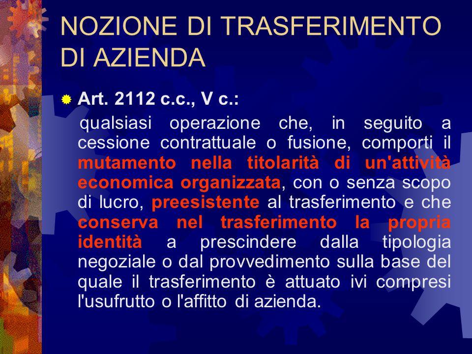 NOZIONE DI TRASFERIMENTO DI AZIENDA  Art.