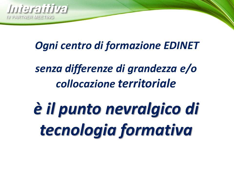 Ogni centro di formazione EDINET senza differenze di grandezza e/o collocazione territoriale è il punto nevralgico di tecnologia formativa
