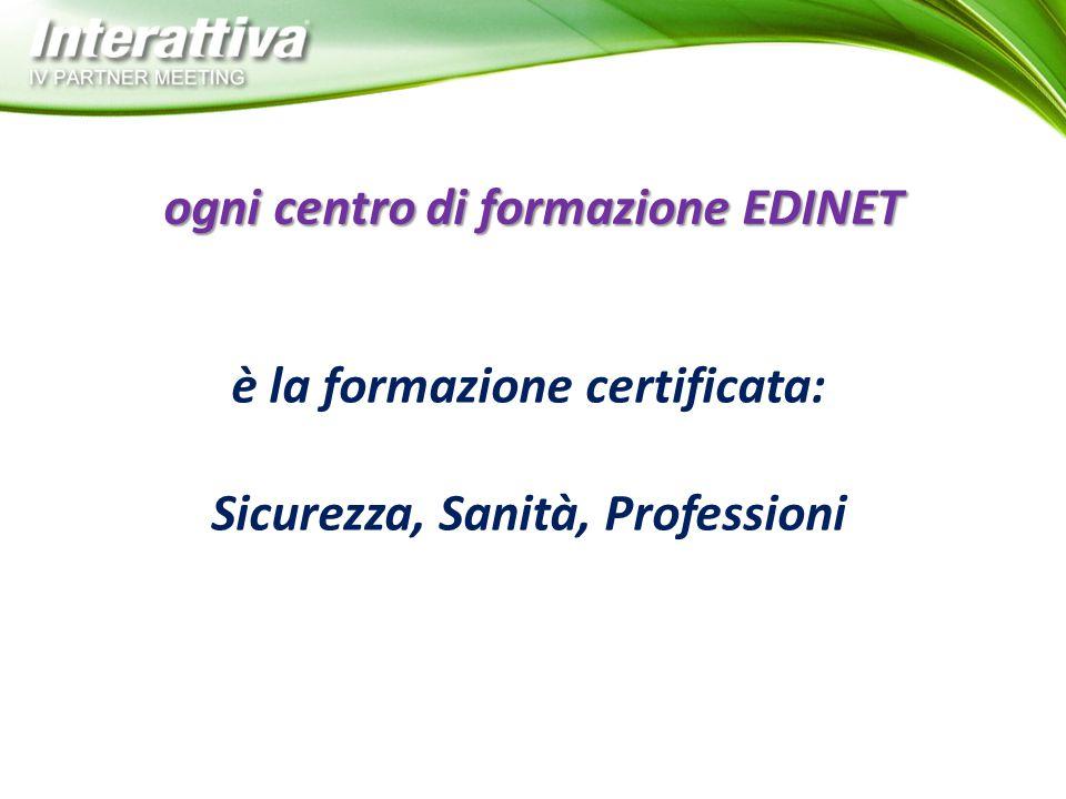 è la formazione certificata: Sicurezza, Sanità, Professioni ogni centro di formazione EDINET