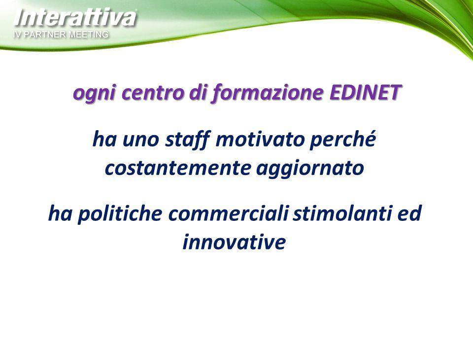 ha uno staff motivato perché costantemente aggiornato ogni centro di formazione EDINET ha politiche commerciali stimolanti ed innovative